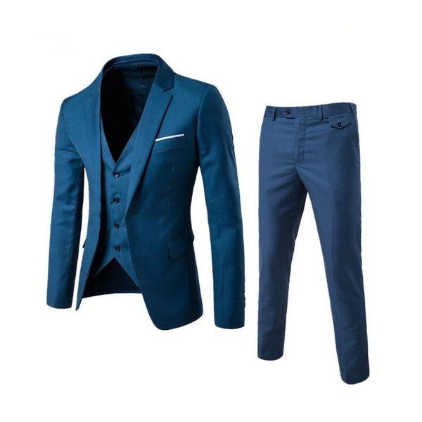 KUSON Latest Coat Pant Designs Wedding Suits For Men Suit Casual Blazer Groom Tuxedo Navy Blue Mens Suits (Jacket+Pants+Vest)