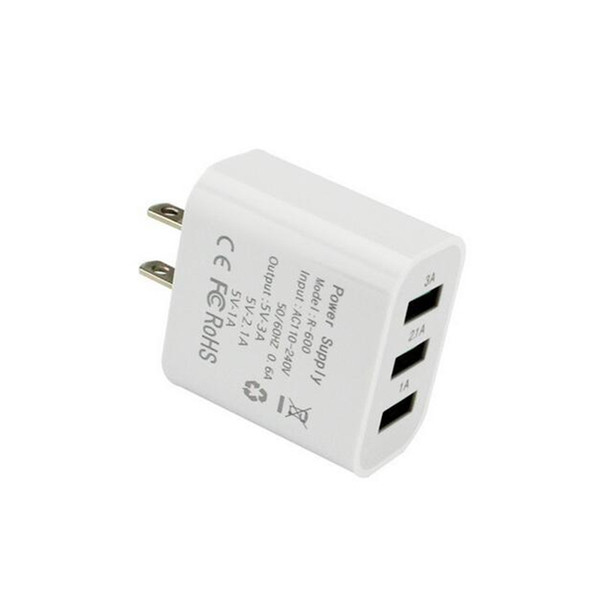 Universal 3A 3-Port USB Wall Home Travel AC Charger Adapter Phone EU/US Plug for iphone samsung