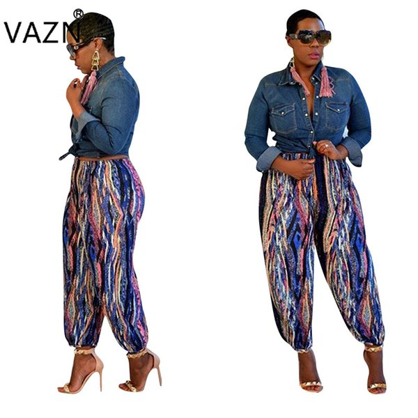 VAZN 2018 hot summer sales strip see through ankle-length pants ladies skinny stright pants women casual high pantalettes CY1045
