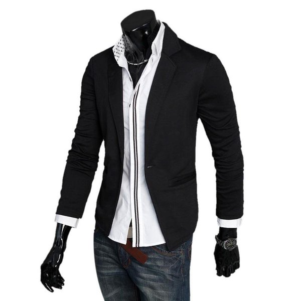 Men'S Suit Jacket Casual Slim High-Quality Jacket Men's New Single-Button Casual Knitting Fashion 3-Color Suit M-XL