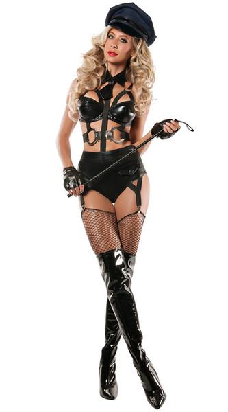 Polisler Cosplay Kadın Polis Rol Oynamak Sıcak Seksi Polisler Kostümleri Kadın Siyah Faux Deri Seksi Cadılar Bayramı Kostümleri C18111601