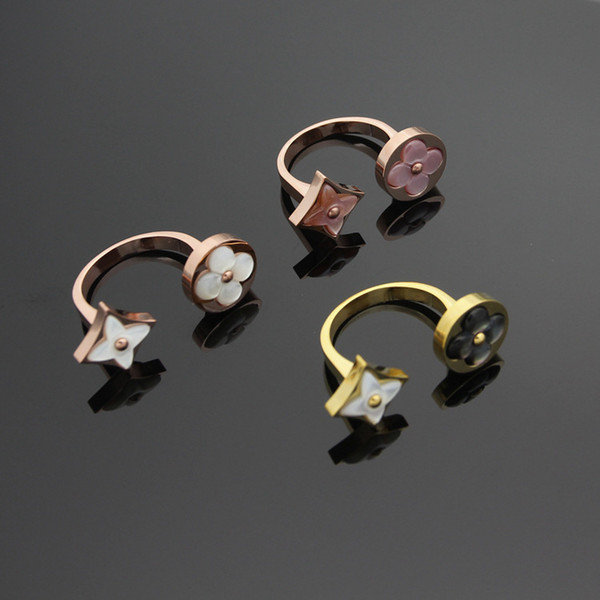 Marke Edelstahl Mode 18 Karat Gold überzogene Damen Ring vier Blätter Blume Eröffnung Ring hochwertige Liebe Schmuck