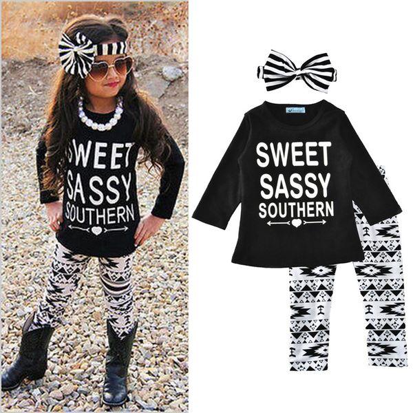 Наборы для новорожденных девочек Sweet Sassy Southern Letter Печатный Топы с длинным рукавом Треугольные брюки в полоску с бантом Оголовье Весна Осень Детский наряд