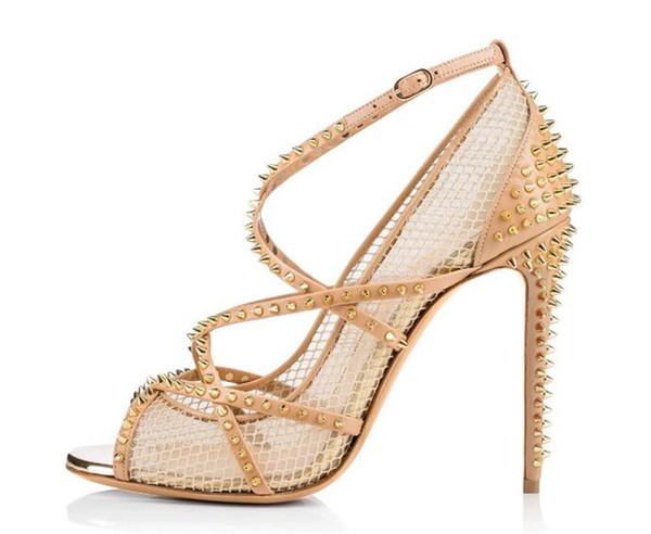Hot Women Sandals Sexy Peep Toe Summer Shoes Women Metal Rivet Stud Cutouts High Heels Sandals Cross-tied Buckle Strap Sandals Big Size