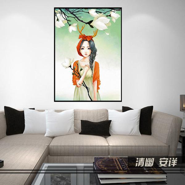 New Pattern Diamonds Full Bore Magnolia Stick Drill Cross Embroidery Cartoon Concise Yulan Princess Decoration Painting Send Tool Kit