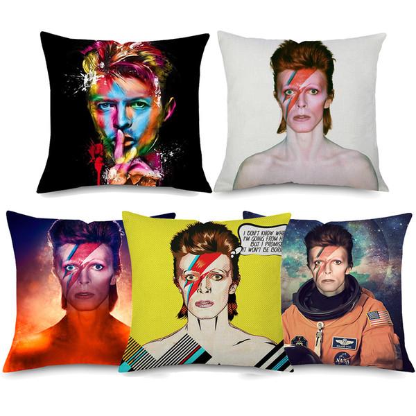 David Bowie Housses de Coussin 7 Styles 45X45cm Aquarelle Rock Américain POP Style Portrait À La Maison Décoratif Beige Taie D'oreiller En Lin