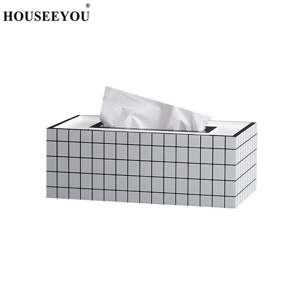 HOUSEEYOU Rectangle Shaped Tissue Boxes Paper Rack Holder Modern European Car Home Towel Napkin Container Tissue Storage Box