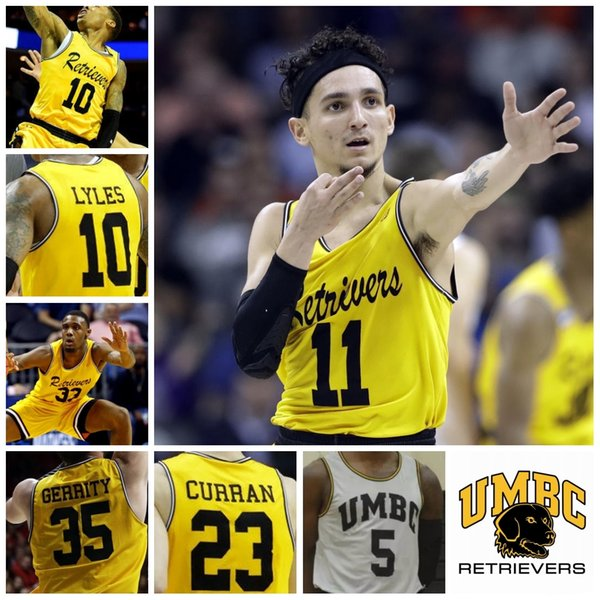UMBC Retrievers College Basket 11 KJ Maura 33 Arkel Lamar 10 Jairus Lyles 5 Jourdan Gran Stitched Qualsiasi nome Numero Gold White Jersey
