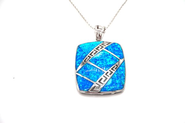 "Created Blue Opal Rectangle Pendant Necklace Authentic 925 Sterling Silver Sea Blue Silver Jewelry for Women 15.74"",17.71"",19.68"" Chain Neck"