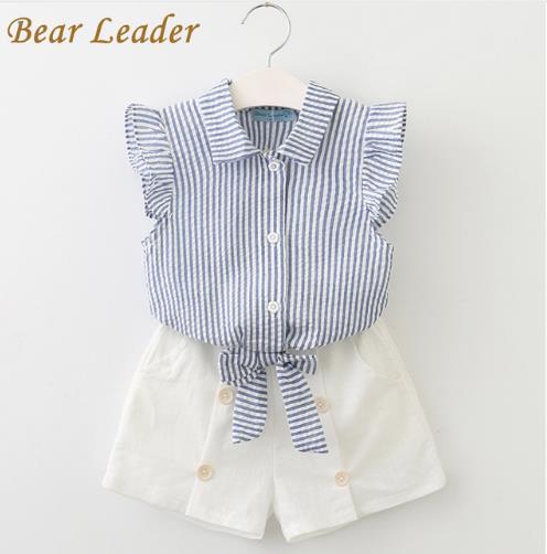 Bear Leader Girls Clothing Sets 2018 Summer Fashion Style Kids Clothes Sleeveless Striped T-shirt+White Short Pants 2Pcs Suits