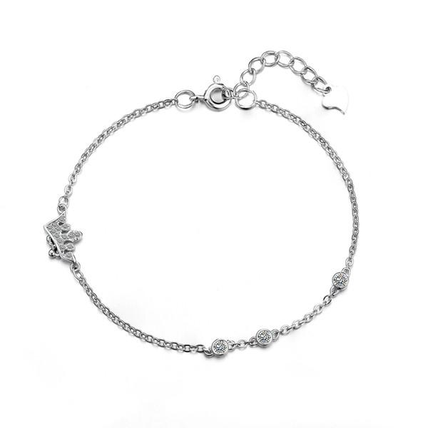 925 Sterling Silver Bracelet Chain Women Cubic Zirconia Crown Shape Trendy Simple Slim Link Chain Bracelets Femme W3 BA008