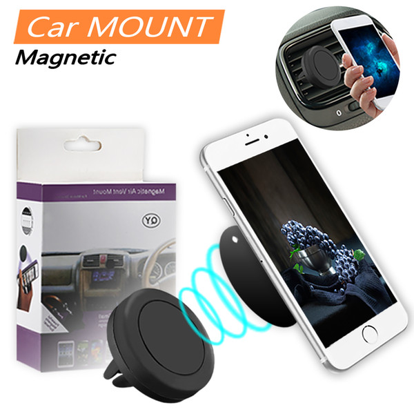 top popular Strong Magnetic Car Holder Phone Air Vent Mount Stand Holder 360 Degree Air Car Mount For Smartphone with Retail Box 2019