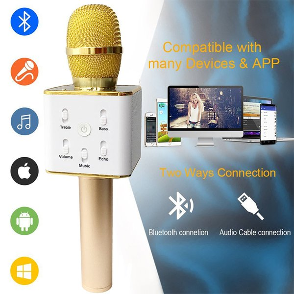 Bluetooth Speaker Q7 Microphone Handheld Wireless KTV Karaoke Player Loudspeaker With MIC Portable wireless speakers For iPhone cell phones