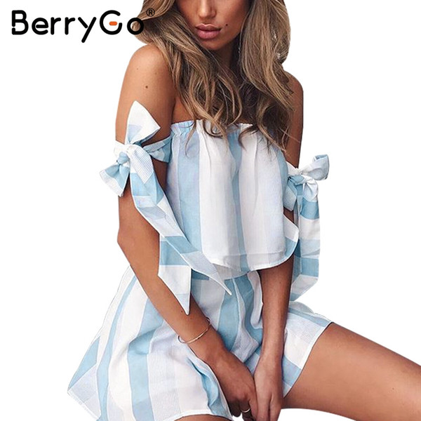 041ccc0d171 BerryGo Organza blue striped bow sleeve jumpsuits romper Women off shoulder  summer beach overalls Casual two