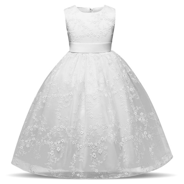 Blanc Bébé Filles Robe De Mariage De Fleur De Fille Robes Formelle Longue Robe De Soirée Des Adolescents Des Enfants Des Vêtements Tulle Tutu Fête Porter Des Adolescentes Fille Vêtements