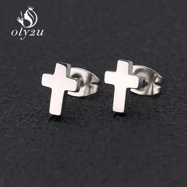 Oly2u Kpop Korean Fashion Cross Small Earrings Stainless Steel Earrings For Girls Ear Studs Man Women Jewelry Elegant Gifts