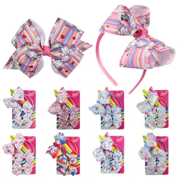 Free DHL 8 Styles JoJo Children Hair Accessorices Printed Unicorn Hair Hoop Bowknot Hair Clips Suit For Girls Baby Birthday Gift H982Q