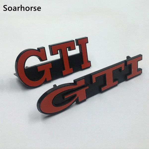 Soarhorse Car Front Grille Emblem 3D GTI Grill Badge For Volkswagen VW Golf MK2 MK3 GTI Auto Accessory