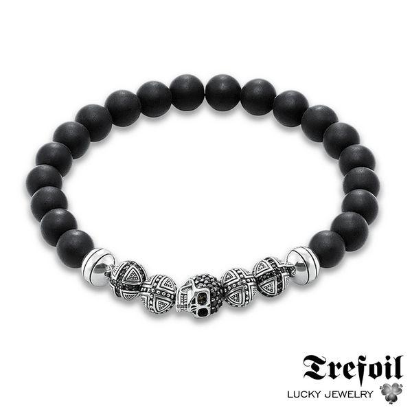 Men's Bracelet Hologram with Skull and Cross Beads, 2018 New Blackened Silver Fashion Jewelry Punk Gift for Men Boy Women Girls