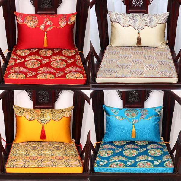 Classic Natural Mulberry Silk Satin Chair Seat Cushion High End Thicken sponge Damask Pad Retro Cushions Home Decor Lumbar Support Cushion