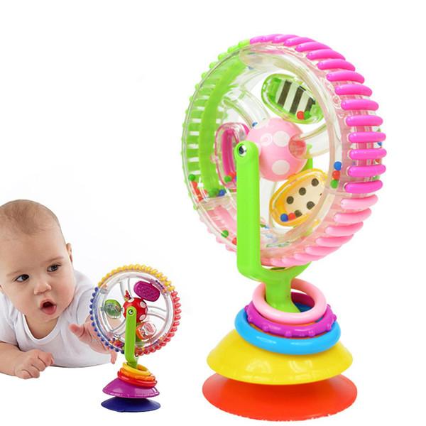 Wholesale- Colorful Newborn Baby Kids Boy Girls Rotating Ferris Wheel Brinquedo Stroller High Chair Rattles Toys For Children