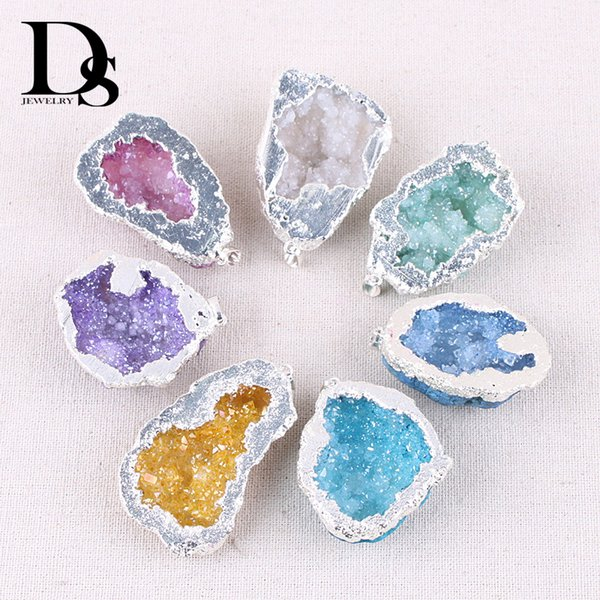 Natural Agate Geode Slice Pendant Drusy Crystal Cluster Quartz Pendulum Electroplated Sliver edge Woman Jewelry Wedding Gifts