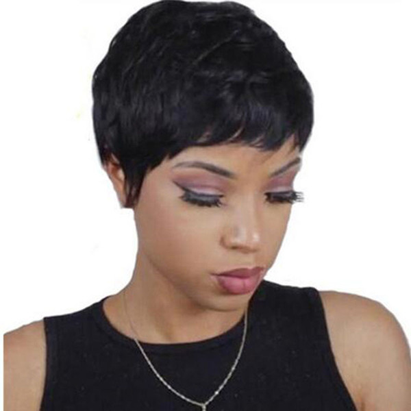 hot top quality short cut striaght full wig simulation human hair short straight full wig for women
