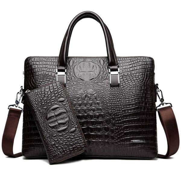 Crocodile pu leather briefcases 2018 business laptop bag for men high quality luxury designer men handbag buy one get two send free purse