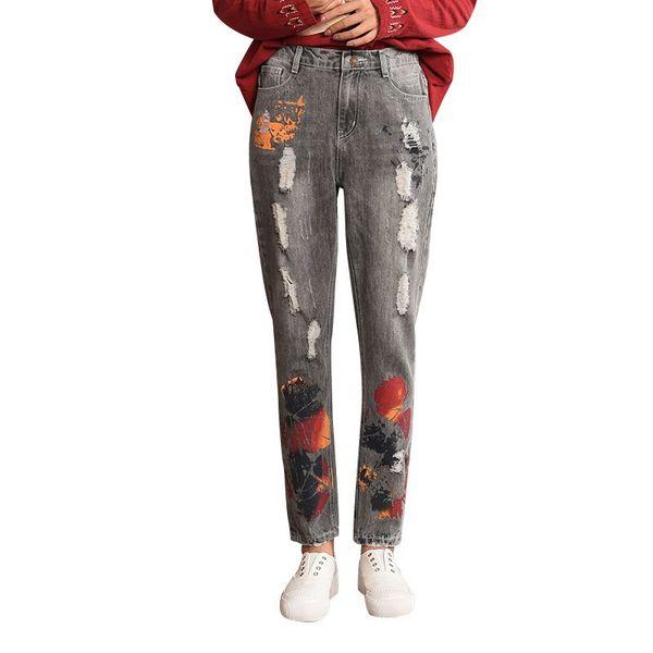 Mom Style Jeans Women Large Size Hippie Baggy Denim Harem Pants Elastic Waist Cowboy Ripped Trousers Fashion Female Pantalon