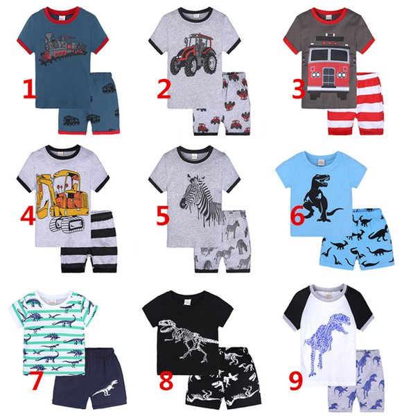 Cheap cartoon Summer Kids boys Girls set short-sleeved shorts pajamas suit home service suits boutique clothing 2081