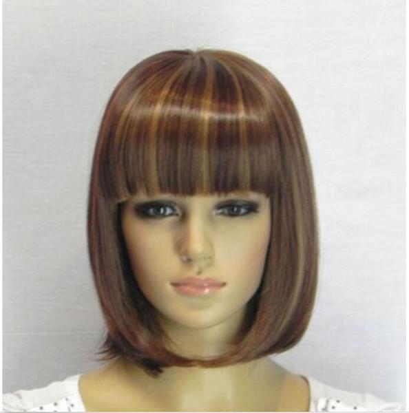 Perruque + capuchon de perruque de cheveux pour les femmes de la mode Hot vente Brown Blonde droite Bangs Bob