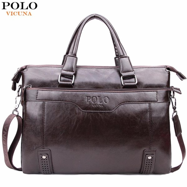 VICUNA POLO High Capacity Hollow Out Bottom Men's Leather Briefcase Bag For 14'' Laptop Vintage Business Leather Mens Handbag