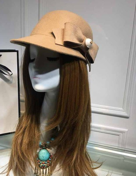 Fast shipping women fashion Cashmere hat autumn and winter ladies dome imitation wool wool hat England felt hat ceremony caps with box + box