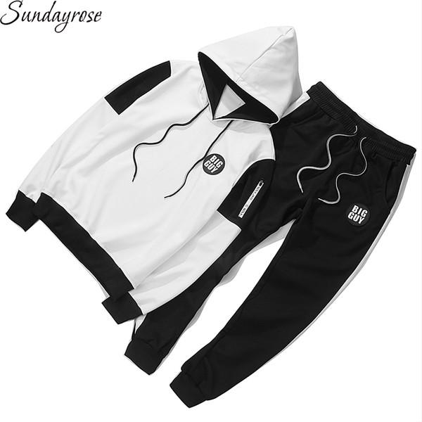 Brand Hoodie + Pants 2Pcs Men's Sport Suit High Quality 95% Cotton 5% Spandex Gym Fitness Tracksuit Elastic Jogging Running Sets