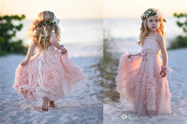 Cute Pink Flower Girls Dresses for Wedding A-Line Halter Backless Lace Appliques Ruffles Flowers Floor Length Kids Girl Pageant Gowns Custom