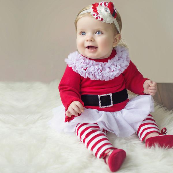 Горячей!! Одежда для девочек 12 месяцев Рождественские наборы Костюмы Костюмы Хлопок Девочка 2шт. Набор с длинными рукавами Красные кружевные платья с бантами в полоску Брюки