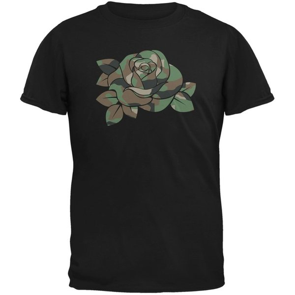 Camo Rose Military Wife Black Adult T-Shirt