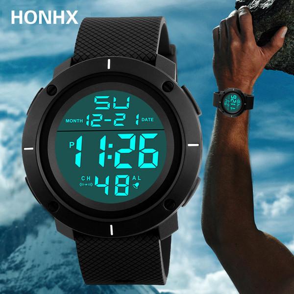 HONHX Fashion Men Sport Watch Waterproof Digital Relogio masculino Army Electronics LED Display Digital Wrist Watch