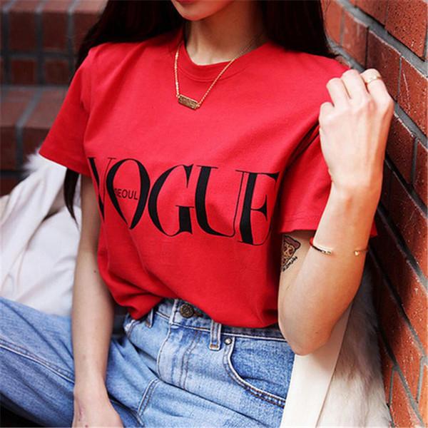 2018 Novo Verão T-Shirt Das Mulheres VOGUE Alta Moda de Algodão Vermelho Carta de Impressão Malhas Casuais de Manga Curta Punk Tees Camisa 3 Cores 180705