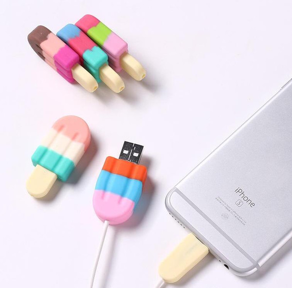 Cute Cartoon Ice Cream Cable Protector Cover Protective Case Cable Bite Winder Cover Data Line Cord Protector For iPhone USB Charging Cable