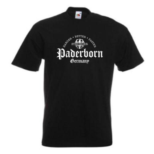 Camiseta Paderborn, más dura mejor más rápida más fuerte, (SFU07-25a) Camiseta de marca de moda para hombre 2018 O-cuello 100% algodón