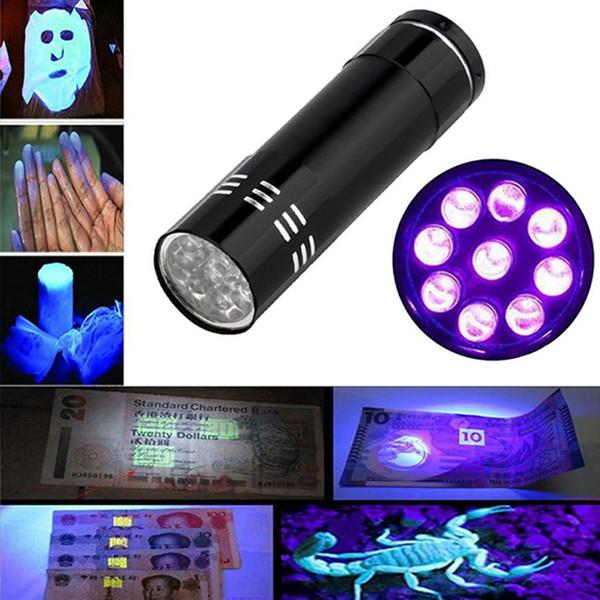 best selling Mini AlumMinum UV ULTRA VIOLET 9 LED FLASHLIGHT BLACKLIGHT Super Bright Torch Light Lamp Portable Money Detector