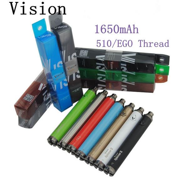 Vape Bateria EGO E Cig Bateria 510 Rosca Cartridge Bateria Visão 2 Ajustável Volt 1650mAh Vaporizador Caneta E Cigarros Vape Caneta Baterias