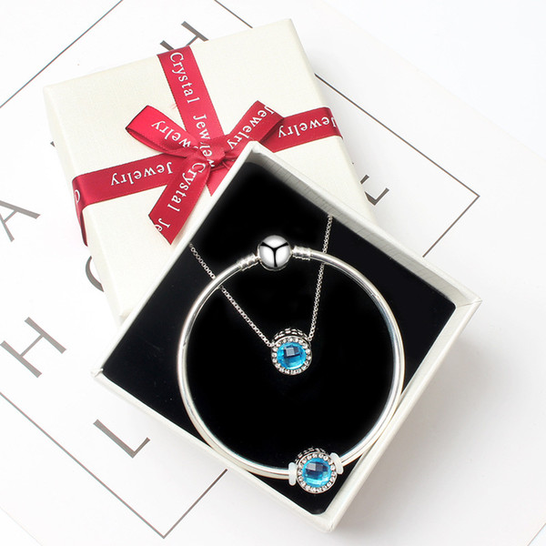 Ensembles de bijoux avec boîte LOGO Bracelet Fit pandora Perles Charmes 45cm Collier avec Cristal BRICOLAGE Bracelets Noël Anniversaire Cadeaux Festifs BR009