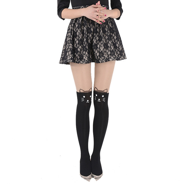 New Sexy Girl's Pantyhose Design Pattern Printed Tattoo Stockings Cat shape Many Styles Love Sheer Pantyhose Stockings Tights