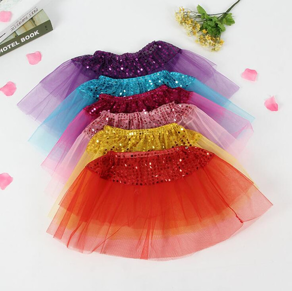 Kids Girls Tutu Skirt Bling Sequin Princess Skirts Children Girl Shine Ballet Dancewear Kids Short Dance Skirt KKA3967