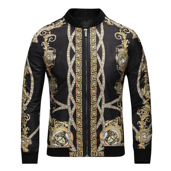 Cross-border supply new designer print jacket men's jacket fashion explosion models youth stand collar cotton jacket