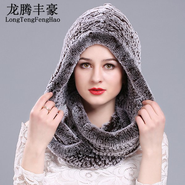 2017 winter Knitting hat cap scarf beanies women warm real rabbit fur scarf and hat with a hood Rex rabbit fur women