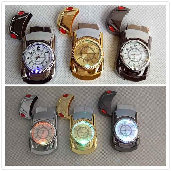 Forma do carro Dos Homens Relógio de Quartzo Esportes Butano Isqueiro Com Led Recarregáveis Fumar Mais Leve Sem Gás Mais Leve 3 cores Ferramentas