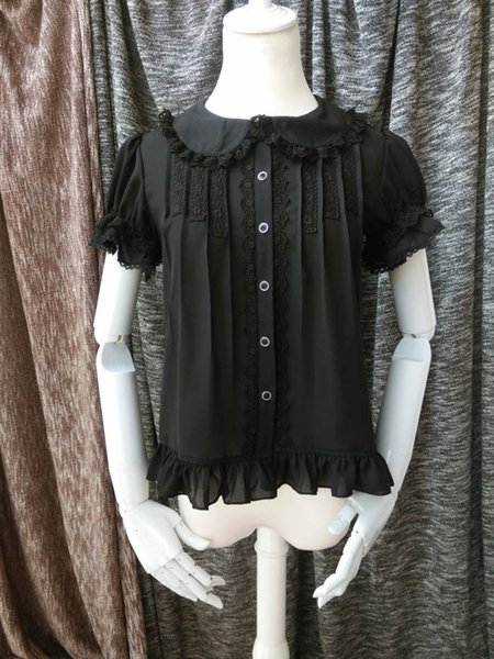 Vintage Black and White Short Sleeve Gothic Lolita Shirts Tops Peter Pan Collar Blouses For Women